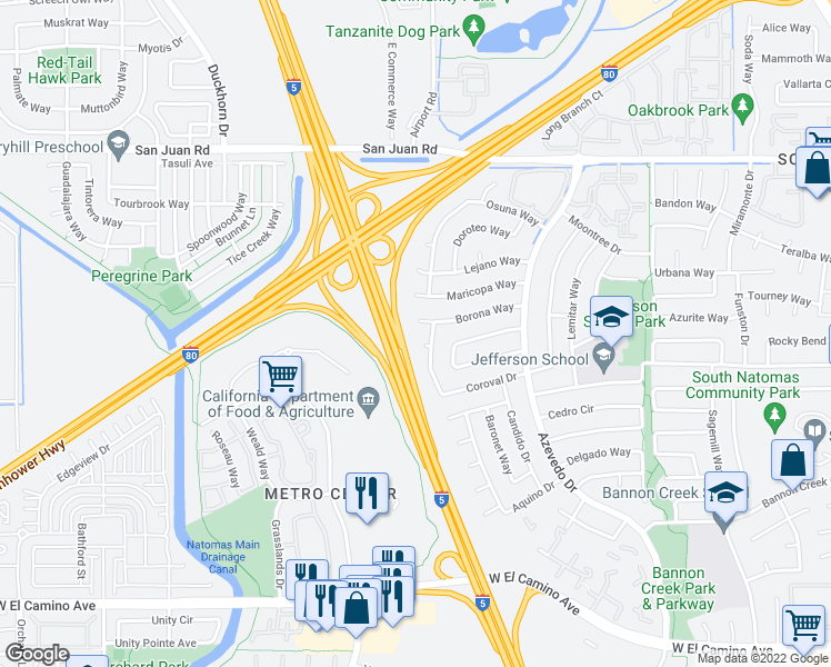 map of restaurants, bars, coffee shops, grocery stores, and more near 2244 Coroval Drive in Sacramento