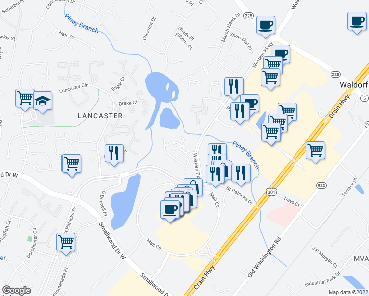 map of restaurants, bars, coffee shops, grocery stores, and more near 11208 Bridport Place in Waldorf
