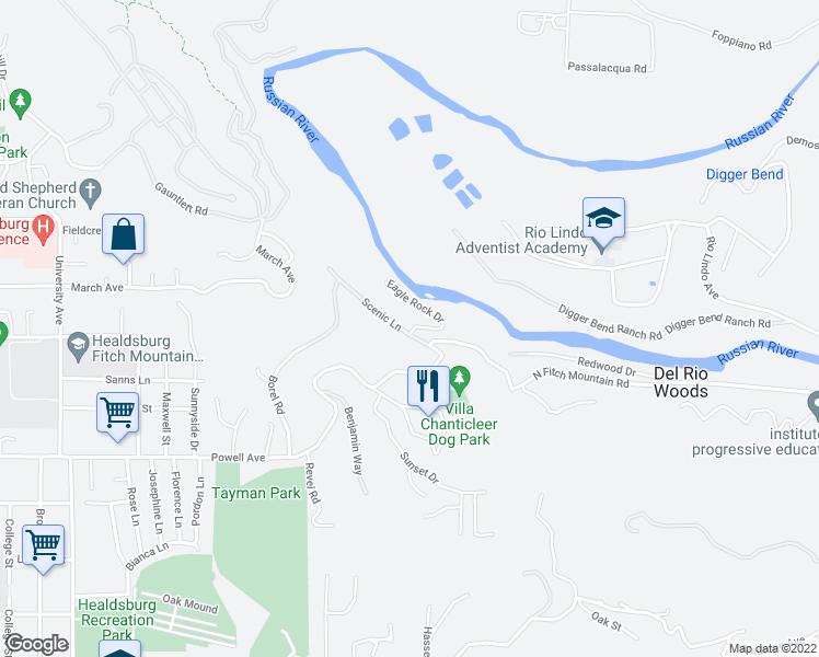 map of restaurants, bars, coffee shops, grocery stores, and more near 1665 Scenic Ln in Healdsburg