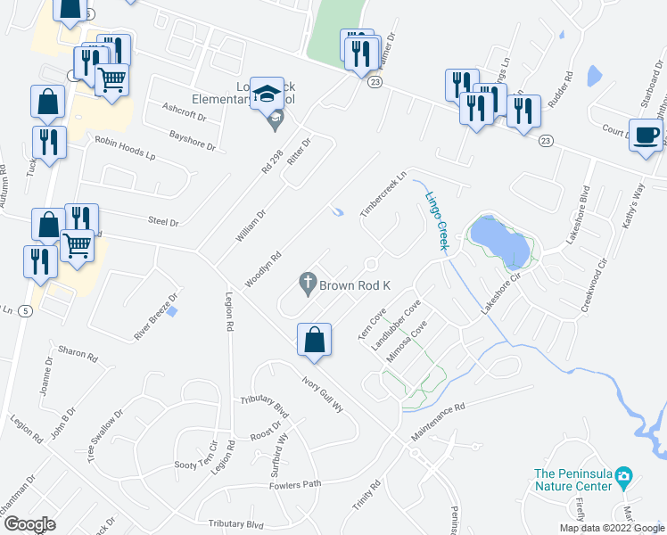 map of restaurants, bars, coffee shops, grocery stores, and more near 32679 Seaview Loop in Millsboro