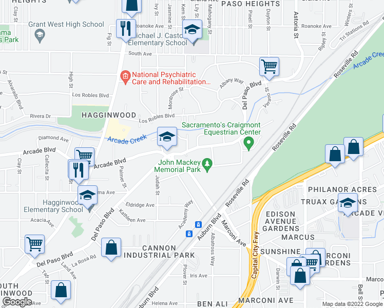 map of restaurants, bars, coffee shops, grocery stores, and more near 3236 Del Paso Boulevard in Sacramento