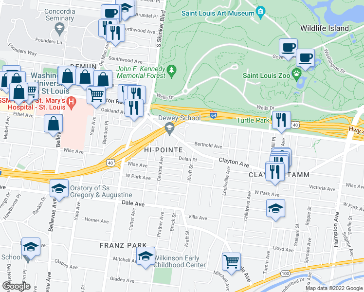 map of restaurants, bars, coffee shops, grocery stores, and more near 6724 Clayton Avenue in St. Louis