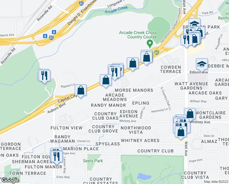 map of restaurants, bars, coffee shops, grocery stores, and more near 3709 Morse Avenue in Sacramento