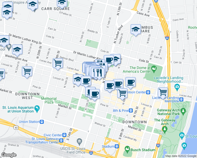 map of restaurants, bars, coffee shops, grocery stores, and more near 1217 Washington Avenue in St. Louis