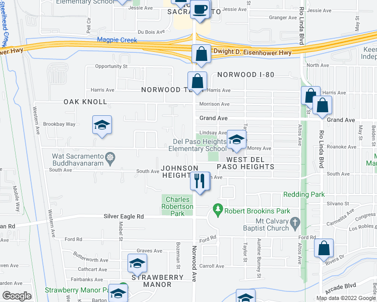 map of restaurants, bars, coffee shops, grocery stores, and more near Norwood Avenue in Sacramento