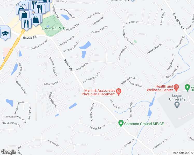 map of restaurants, bars, coffee shops, grocery stores, and more near 15612 Summer Ridge Drive in Chesterfield