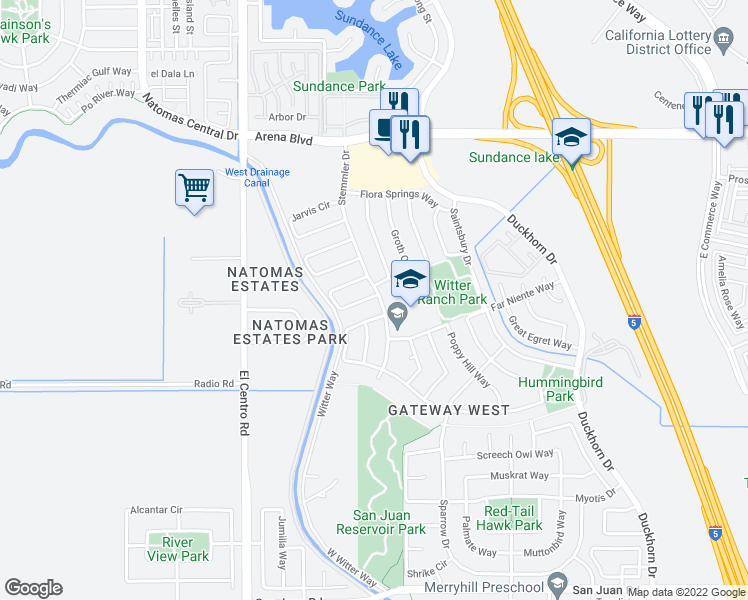 map of restaurants, bars, coffee shops, grocery stores, and more near 9 Cakebread Cir in Sacramento