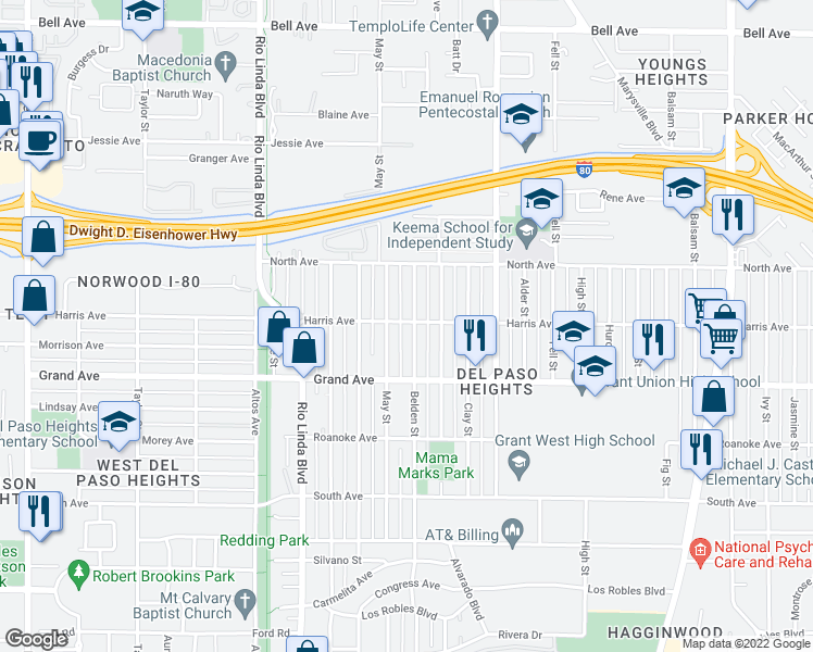 map of restaurants, bars, coffee shops, grocery stores, and more near 1026 Harris Avenue in Sacramento