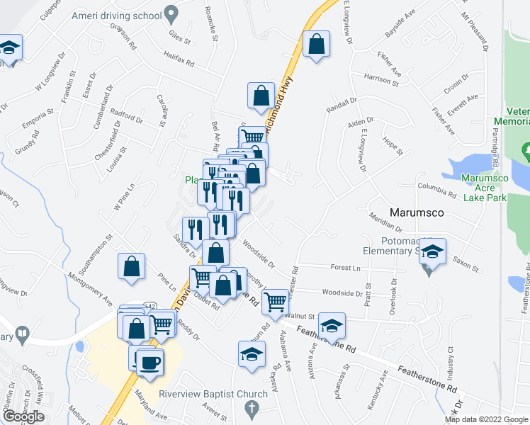 map of restaurants, bars, coffee shops, grocery stores, and more near 14404 Gemstone Dr in Woodbridge