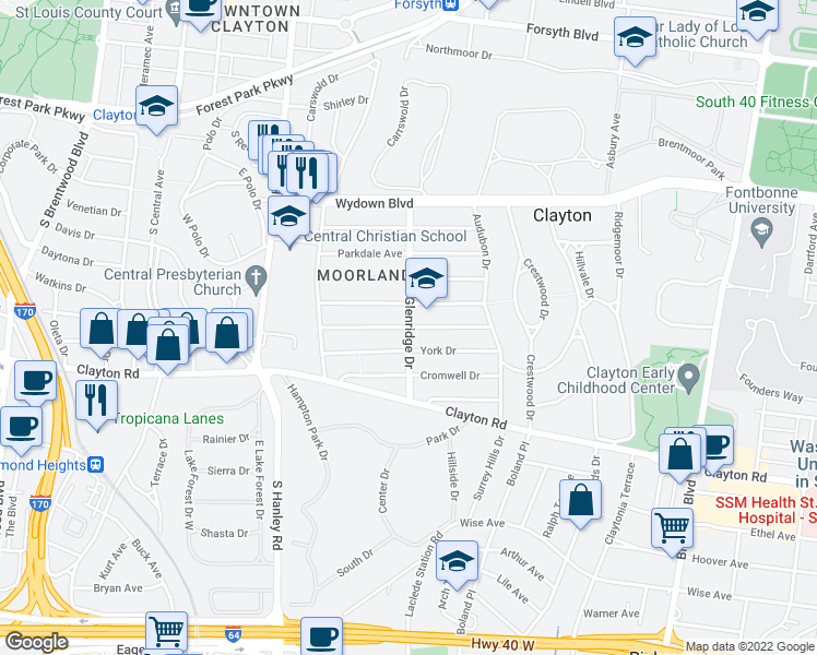 map of restaurants, bars, coffee shops, grocery stores, and more near 7501 York Drive in Clayton