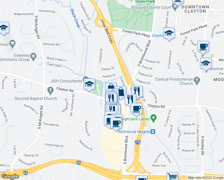 map of restaurants, bars, coffee shops, grocery stores, and more near 8161 Whitburn Drive in Clayton
