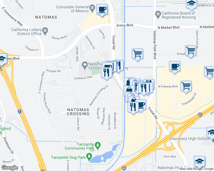 map of restaurants, bars, coffee shops, grocery stores, and more near 2101 Natomas Crossing Drive in Sacramento