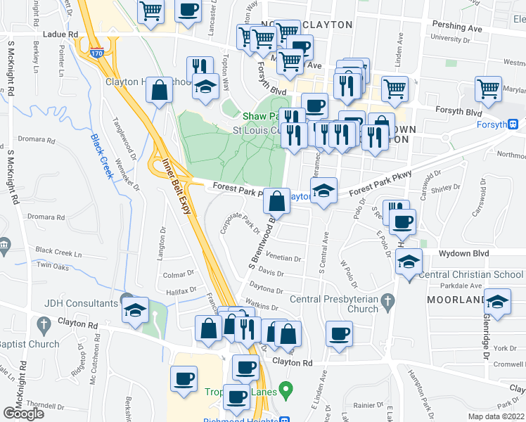 map of restaurants, bars, coffee shops, grocery stores, and more near 501 South Brentwood Boulevard in Clayton
