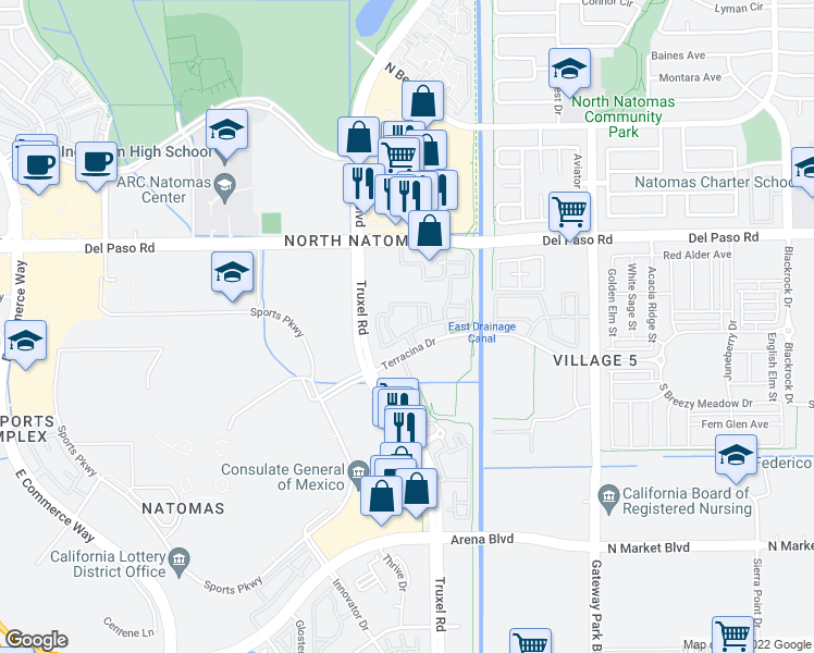 map of restaurants, bars, coffee shops, grocery stores, and more near 4500 Truxel Road in Sacramento