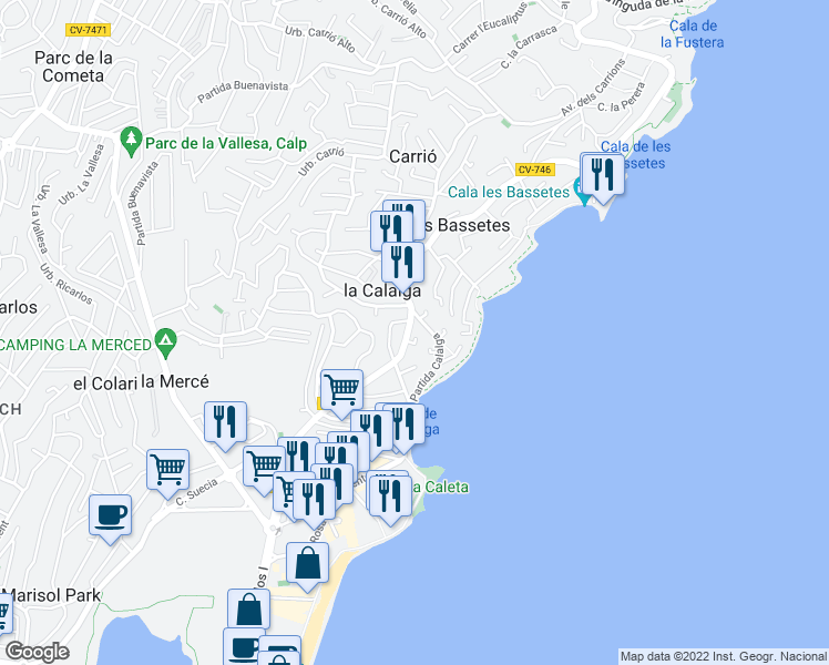 map of restaurants, bars, coffee shops, grocery stores, and more near 30A Partida Calalga in Calpe