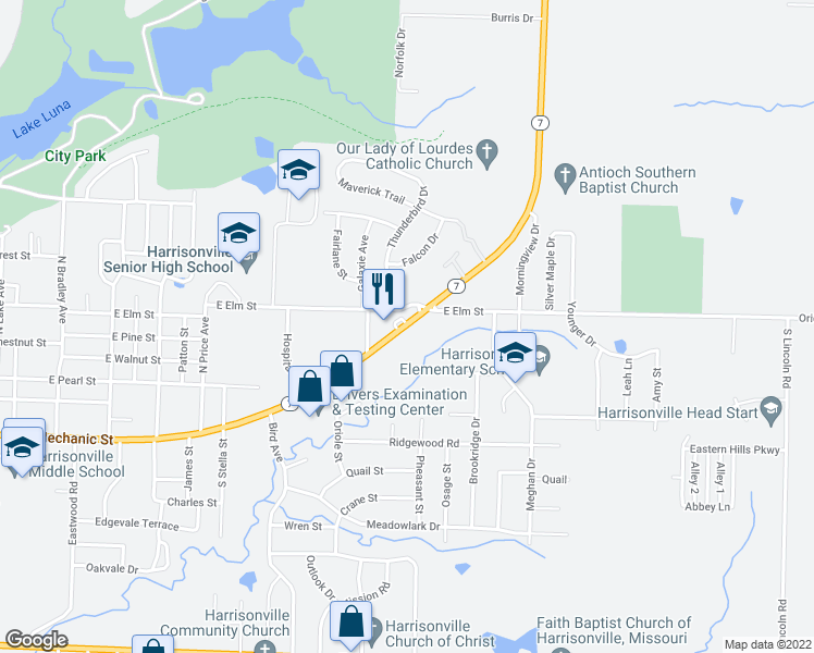map of restaurants, bars, coffee shops, grocery stores, and more near 2141-2283 Highway 7 in Harrisonville
