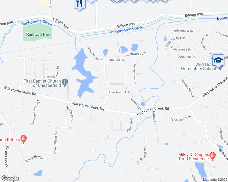 map of restaurants, bars, coffee shops, grocery stores, and more near 16955 Pine Summit Drive in Chesterfield