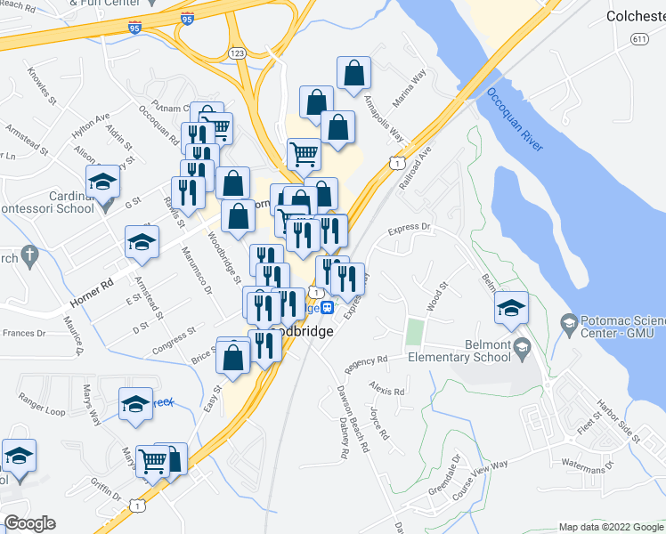 map of restaurants, bars, coffee shops, grocery stores, and more near 13444 Jefferson Davis Highway in Woodbridge