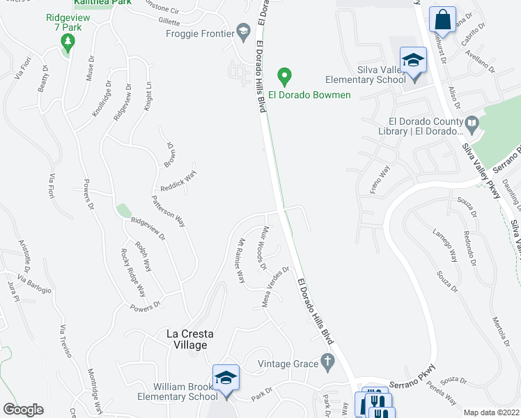 map of restaurants, bars, coffee shops, grocery stores, and more near 965 Wilson Boulevard in El Dorado Hills