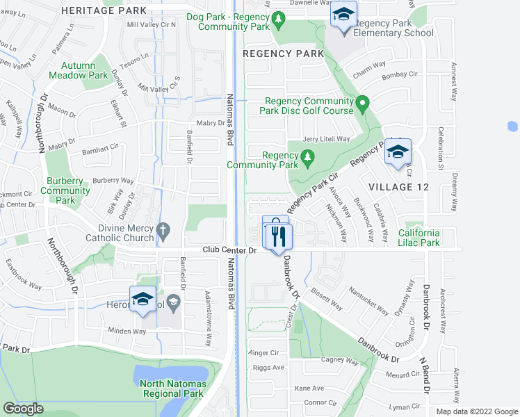 map of restaurants, bars, coffee shops, grocery stores, and more near 430 Natalino Circle in Sacramento