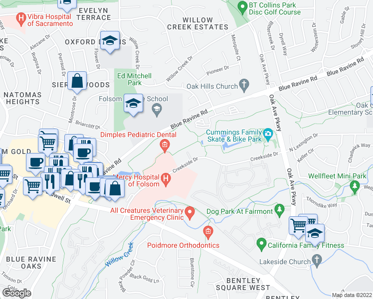map of restaurants, bars, coffee shops, grocery stores, and more near 1701 Creekside Drive in Folsom