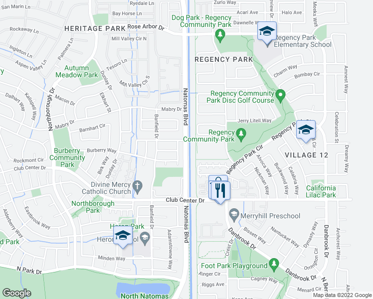 map of restaurants, bars, coffee shops, grocery stores, and more near 5906-5920 Natomas Boulevard in Sacramento