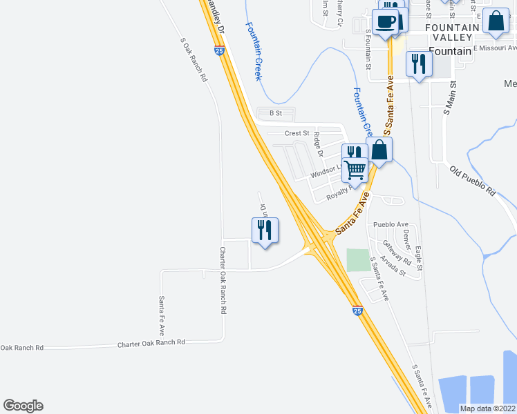 map of restaurants, bars, coffee shops, grocery stores, and more near 6145 Champlin Drive in Fountain