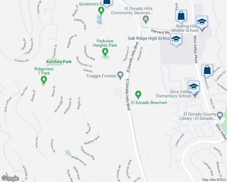 map of restaurants, bars, coffee shops, grocery stores, and more near 1026 Olson Lane in El Dorado Hills