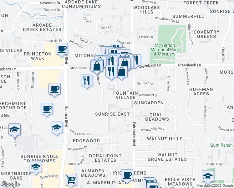 map of restaurants, bars, coffee shops, grocery stores, and more near 6016-6042 Sunrise Vista Drive in Citrus Heights