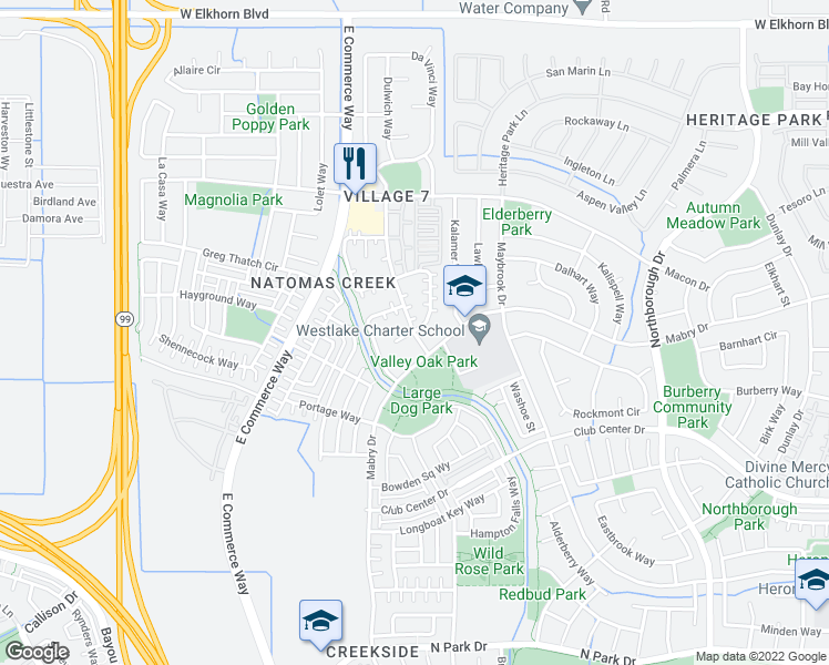 map of restaurants, bars, coffee shops, grocery stores, and more near Bankside Way & Picasso Cir in Sacramento