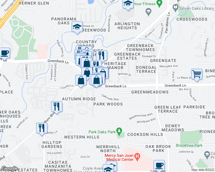 map of restaurants, bars, coffee shops, grocery stores, and more near 6296 Greenback Lane in Citrus Heights
