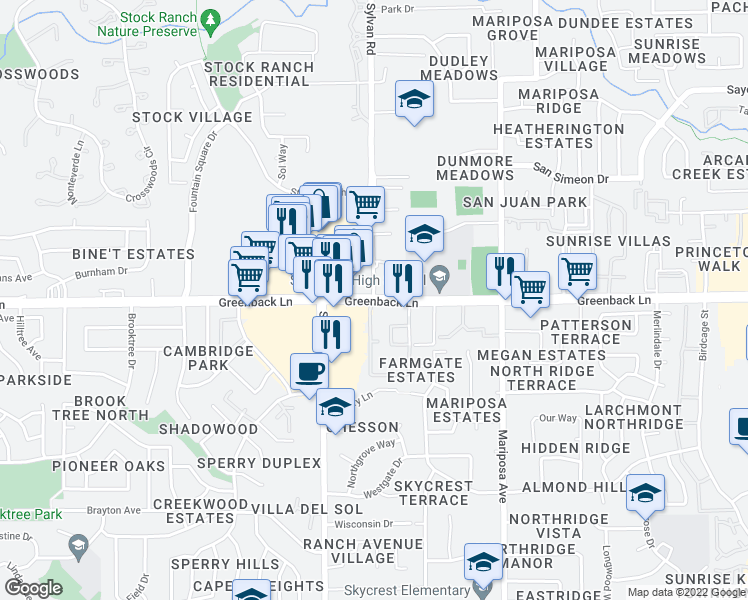 map of restaurants, bars, coffee shops, grocery stores, and more near 6246-6442 Sylvan Road in Citrus Heights