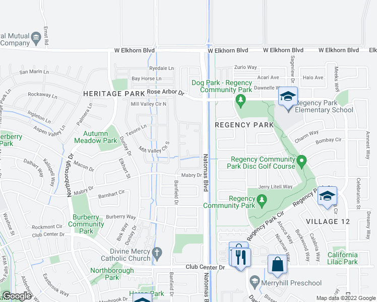 map of restaurants, bars, coffee shops, grocery stores, and more near 5601 Natomas Boulevard in Sacramento