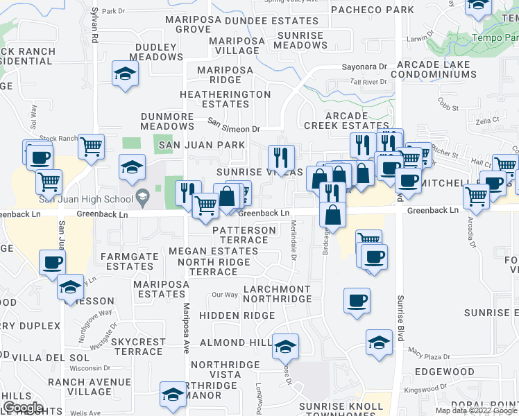 map of restaurants, bars, coffee shops, grocery stores, and more near 7711 Greenback Lane in Citrus Heights