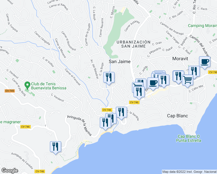 map of restaurants, bars, coffee shops, grocery stores, and more near 17-21 Avenida del Baladrar in Benissa