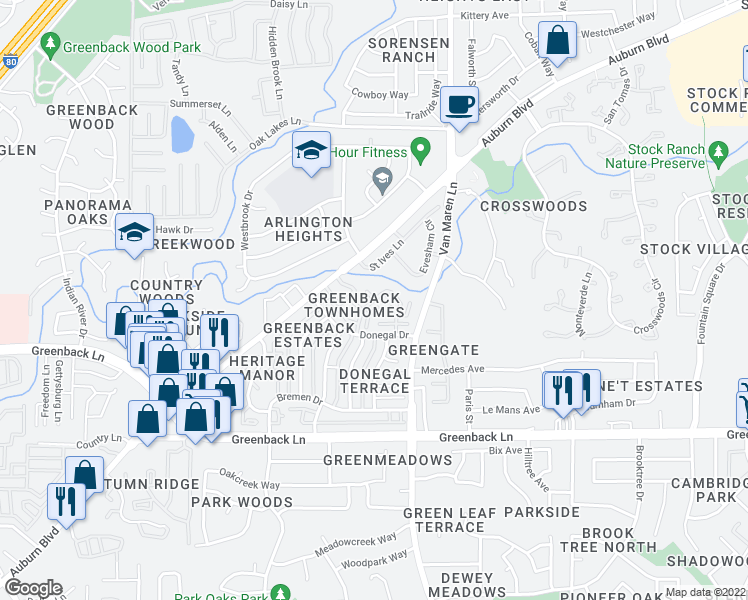 map of restaurants, bars, coffee shops, grocery stores, and more near Wexford Circle in Citrus Heights