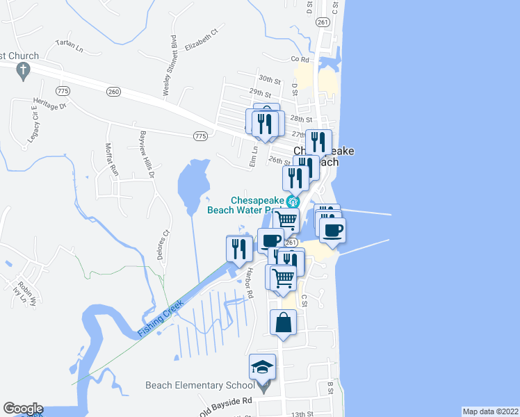 map of restaurants, bars, coffee shops, grocery stores, and more near 3999 Gordon Stinnett Avenue in Chesapeake Beach