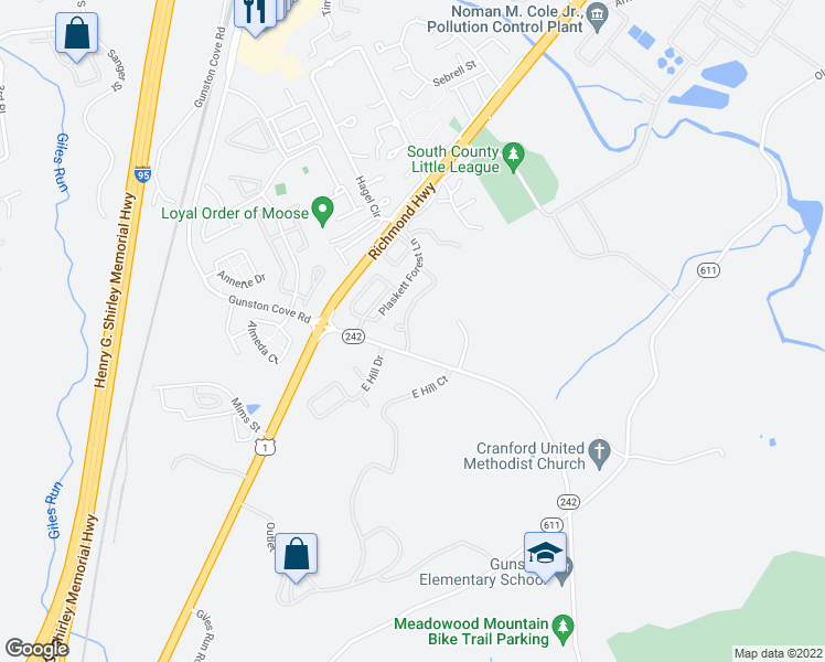 map of restaurants, bars, coffee shops, grocery stores, and more near 9795 Lorraine Carol Way in Lorton