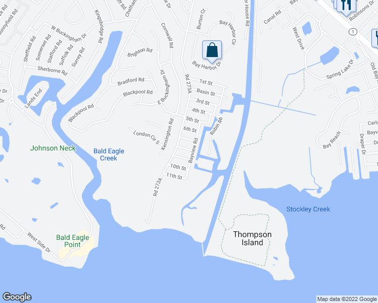 map of restaurants, bars, coffee shops, grocery stores, and more near 37348 8th Street in Rehoboth Beach