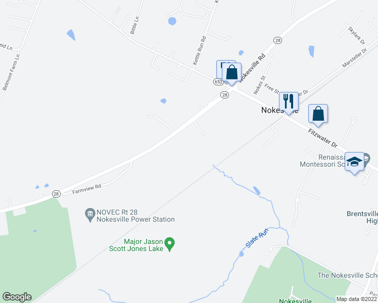 map of restaurants, bars, coffee shops, grocery stores, and more near 13211 Nokesville Road in Nokesville