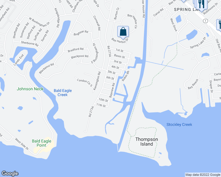 map of restaurants, bars, coffee shops, grocery stores, and more near 37357 8th Street in Rehoboth Beach