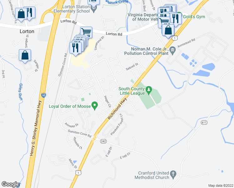 map of restaurants, bars, coffee shops, grocery stores, and more near 9531 Hagel Circle in Lorton