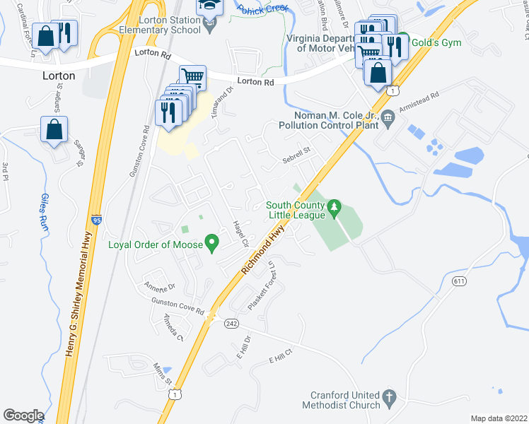map of restaurants, bars, coffee shops, grocery stores, and more near 9584-9598 Hagel Circle in Lorton