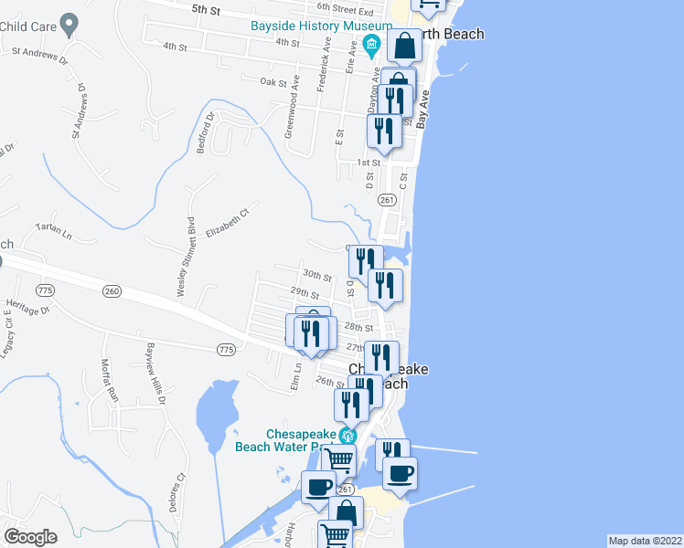 map of restaurants, bars, coffee shops, grocery stores, and more near 8501 E Street in Chesapeake Beach