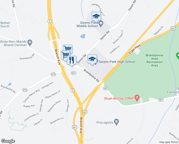 map of restaurants, bars, coffee shops, grocery stores, and more near 13827-13895 Brandywine Road in Brandywine