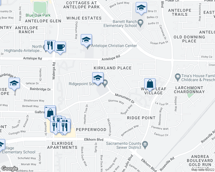 map of restaurants, bars, coffee shops, grocery stores, and more near 4601-4699 Galbrath Drive in Sacramento