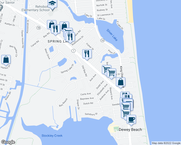 map of restaurants, bars, coffee shops, grocery stores, and more near Rehoboth Avenue in Rehoboth Beach