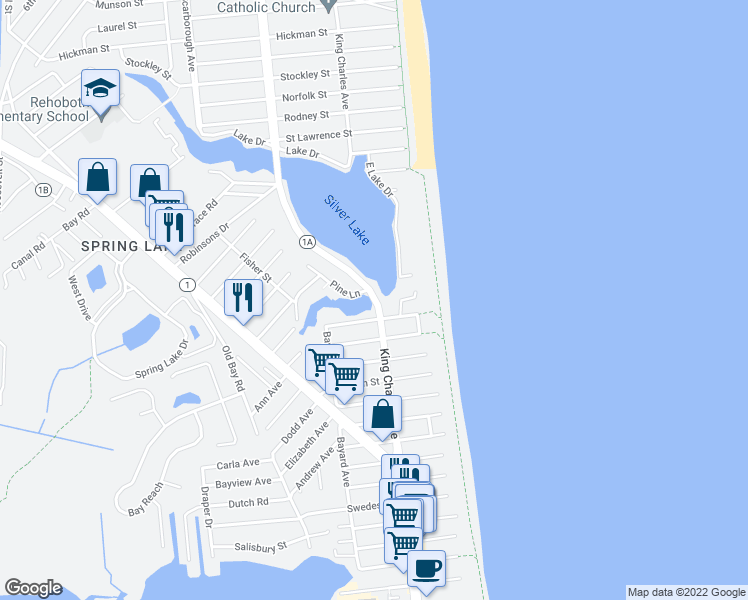 map of restaurants, bars, coffee shops, grocery stores, and more near 20408 Silver Lake Drive in Rehoboth Beach