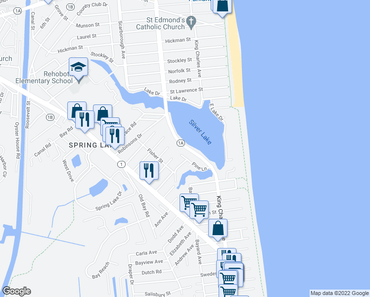 map of restaurants, bars, coffee shops, grocery stores, and more near 20378 Silver Lake Drive in Rehoboth Beach