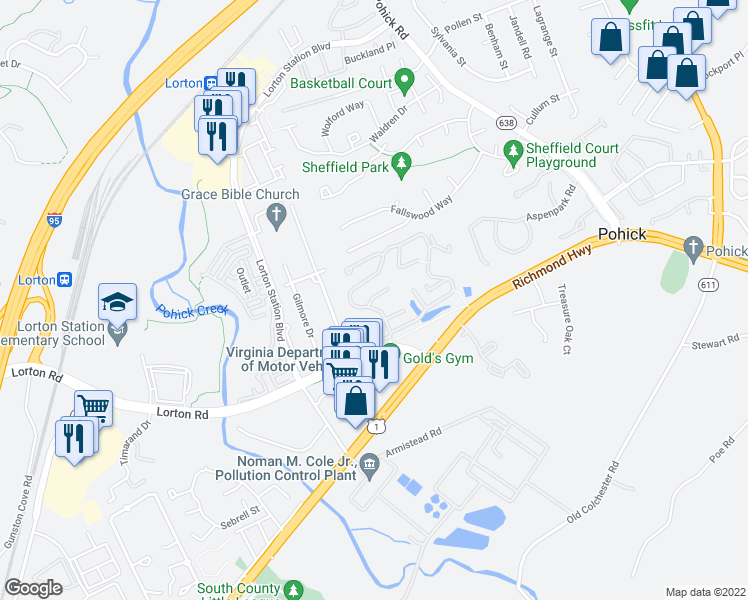 map of restaurants, bars, coffee shops, grocery stores, and more near 7630 Fairfield Woods Court in Lorton